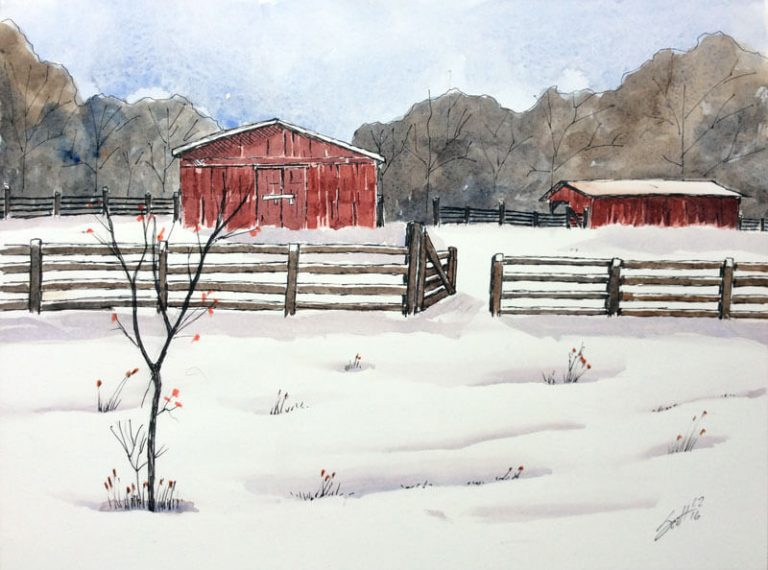 The Wallace's Barn- Watercolor Line and Wash