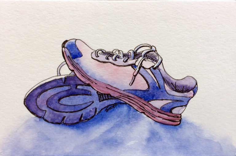 Gym Shoes- Watercolor Line and Wash