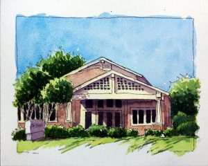 Dr. Noel's Office- Watercolor Line and Wash