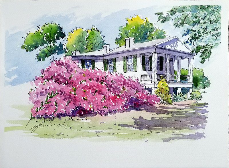House with Azaleas- Watercolor Line and Wash