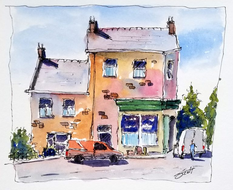 Ketterwell Village Store- Watercolor Line and Wash