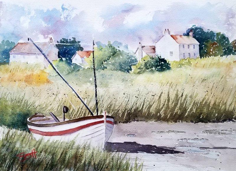 Marsh Boat - Watercolor