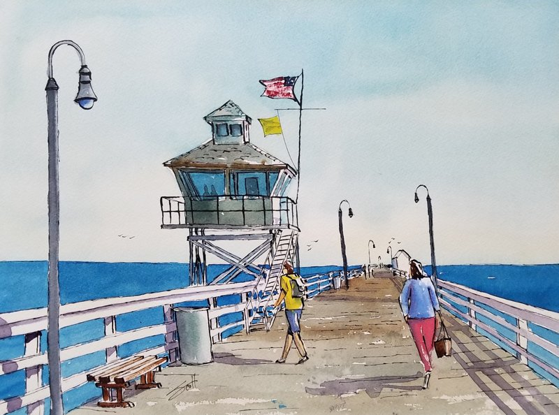 San Clemente Pier - Watercolor Line and Wash