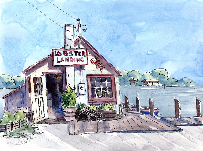 Lobster Landing - Watercolor