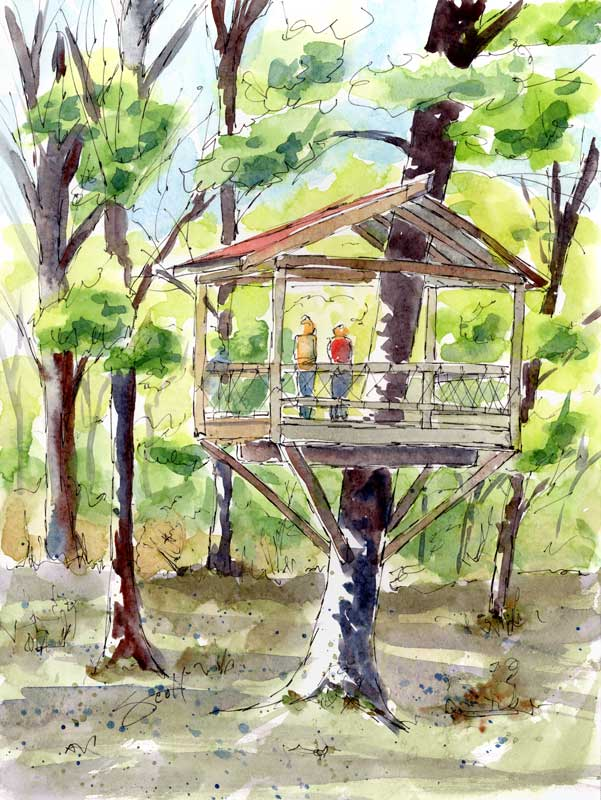 Tree House - Watercolor