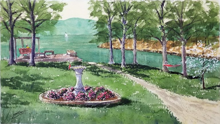 Linda's Backyard - Watercolor, Line & Wash